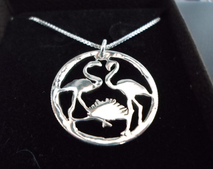 Flamingo necklace quarter size w/sterling silver chain