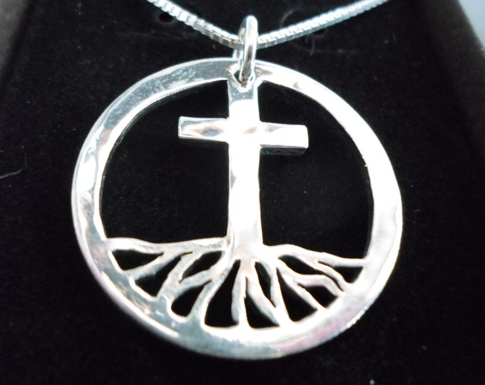 Rooted in the cross necklace quarter size w/sterling silver chain