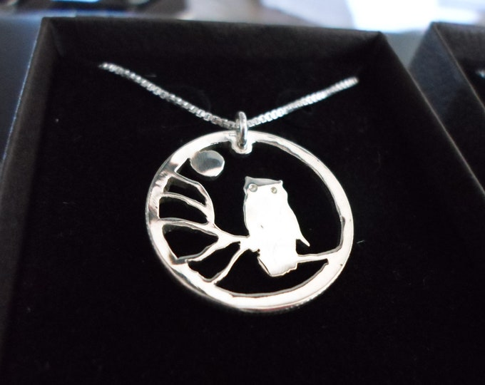 Owl necklace dime size w/sterling silver chain