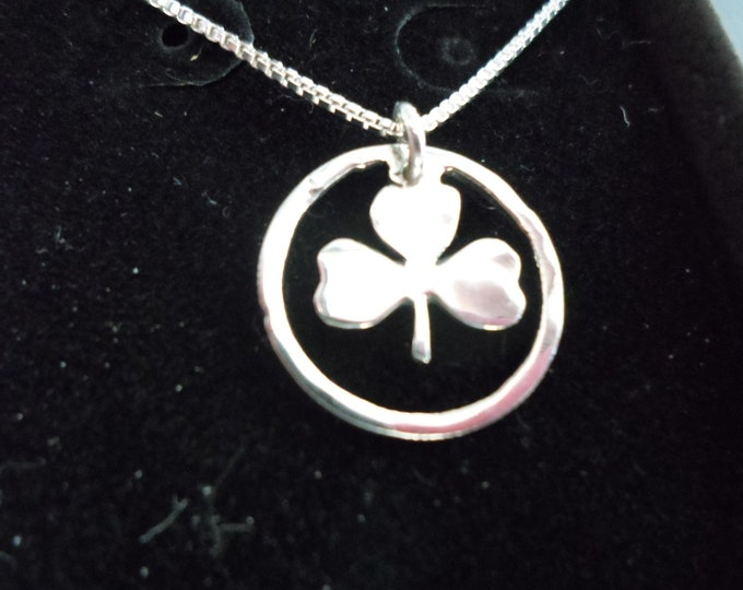 Shamrock necklace dime size w/sterling silver chain