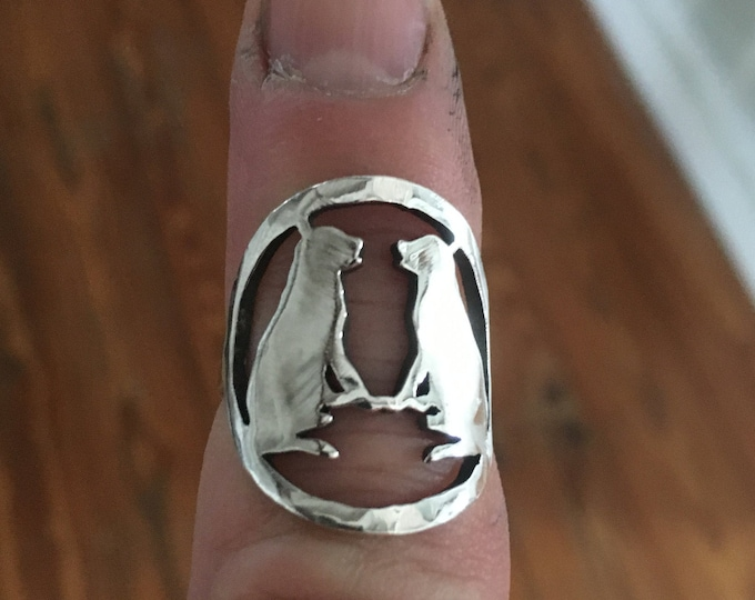 Two dog ring quarter size sterling silver original  by mountain man