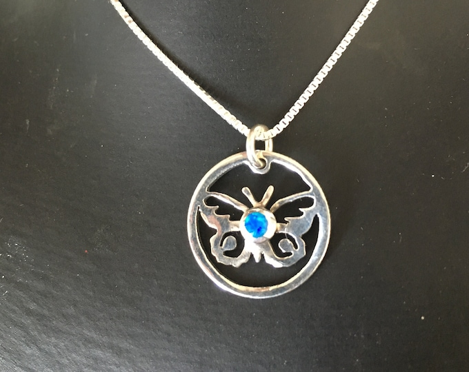 Butterfly necklace w/blue  opal  w/sterling silver chain hand pierced original by Mountain man