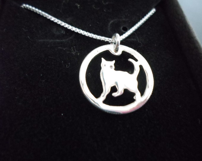 Cat necklace dime size w/sterling silver chain