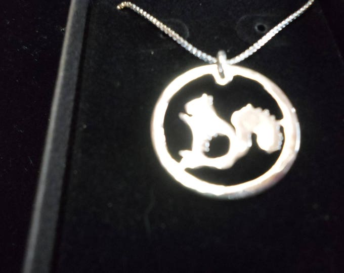 Squirrel necklace quarter size w/sterling silver chain