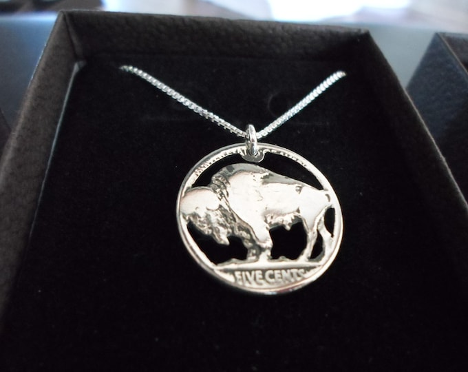 Buffalo nickle w/sterling silver chain