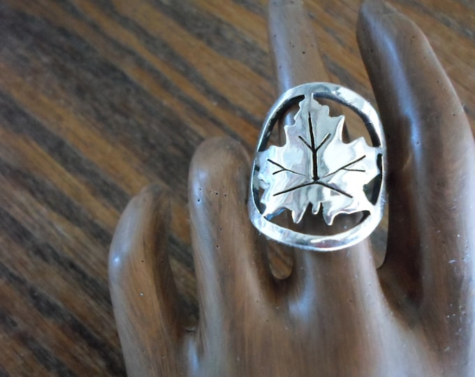 Maple Leaf ring quarter size