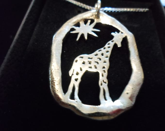 large melted giraffe  necklace w/sterling silver chain