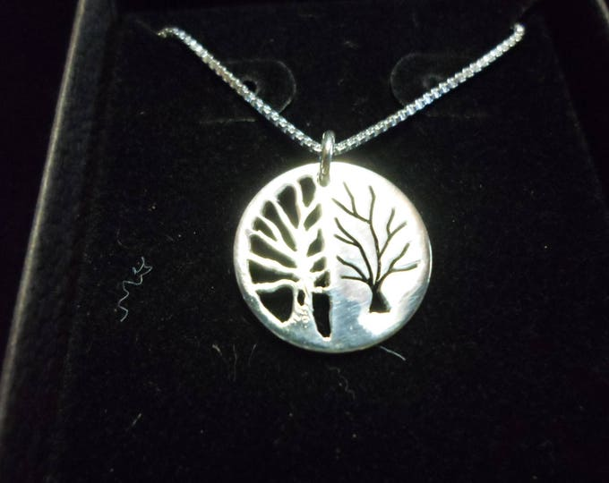 Reflection tree of life dime size w/sterling silver chain