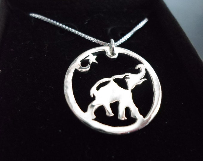 Elephant necklace dime size w/sterling silver chain