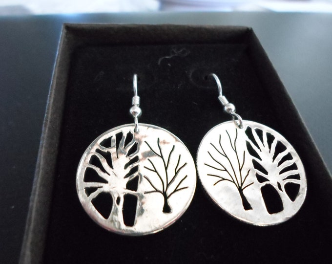 Reflection Tree of life earrings hand pierced original sterling silver by Mountain man