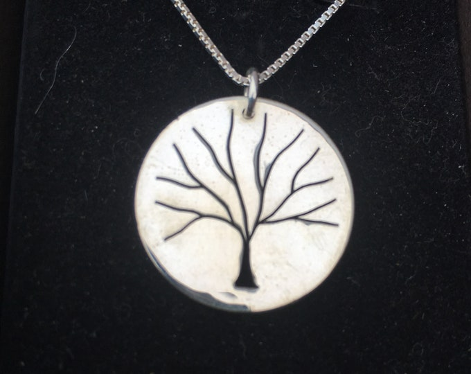 Tree of Life necklace hand pierced original w/sterling silver chain by Mountain man