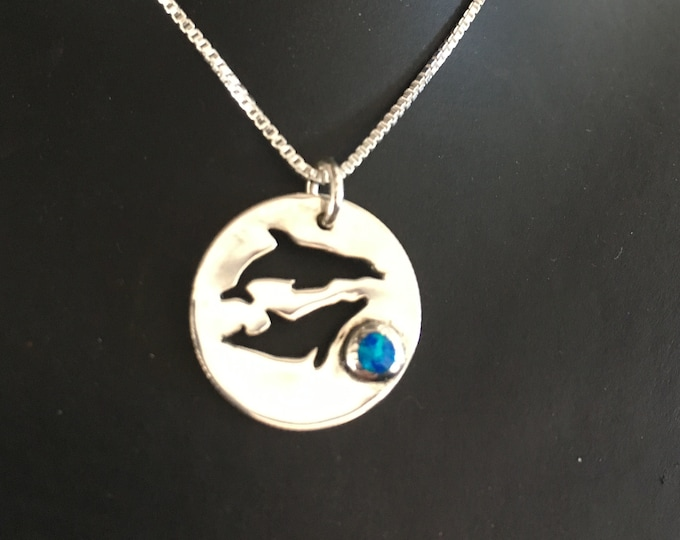 dolphin necklace  w/blue opal  w/sterling silver chain by Mountain man