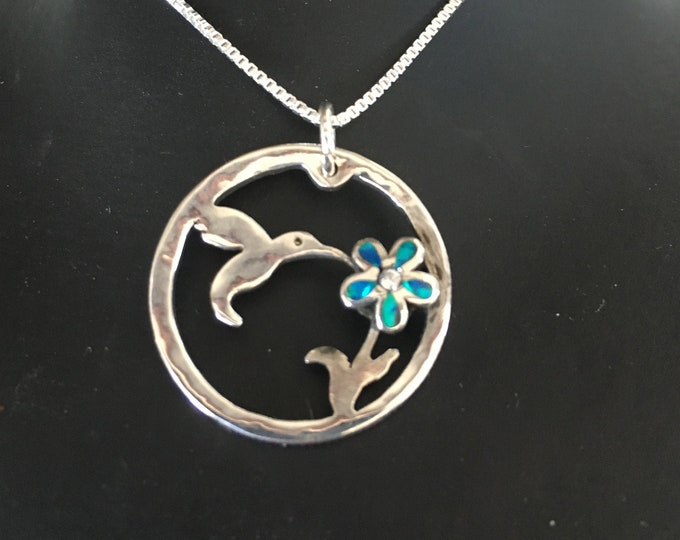 Humming bird necklace w/ blue opal w/sterling silver chain by Mountain man