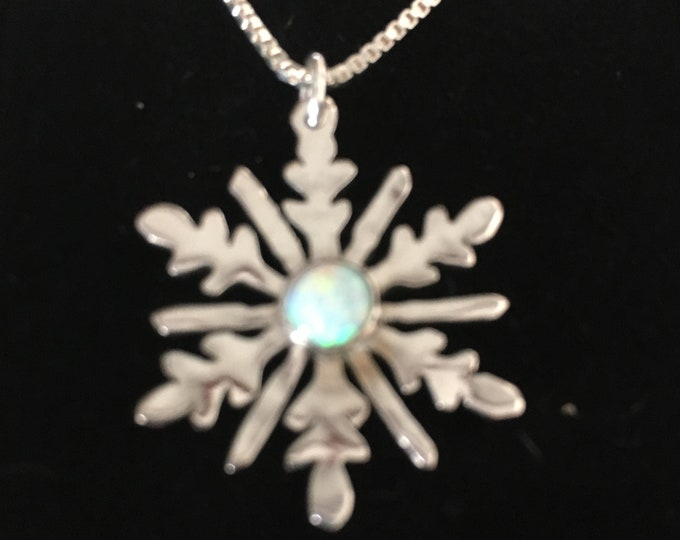 Snowflake created opal necklace half dollar size w/sterling silver chain