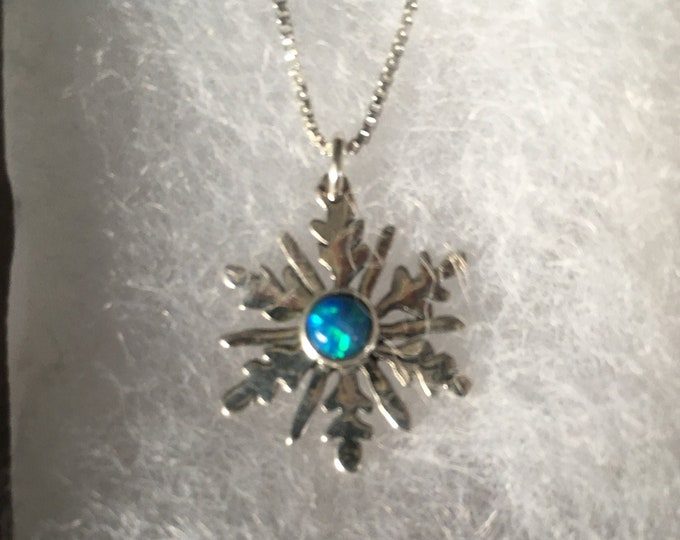 Snowflake necklace quarter size w/5 mm created blue opal w/sterling silver chain