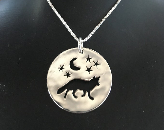 Fox necklace w/moon and stars Quarter size w/sterling silver chain