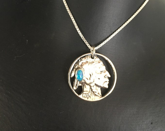Indian head nickel w/blue opal w/sterling silver chain