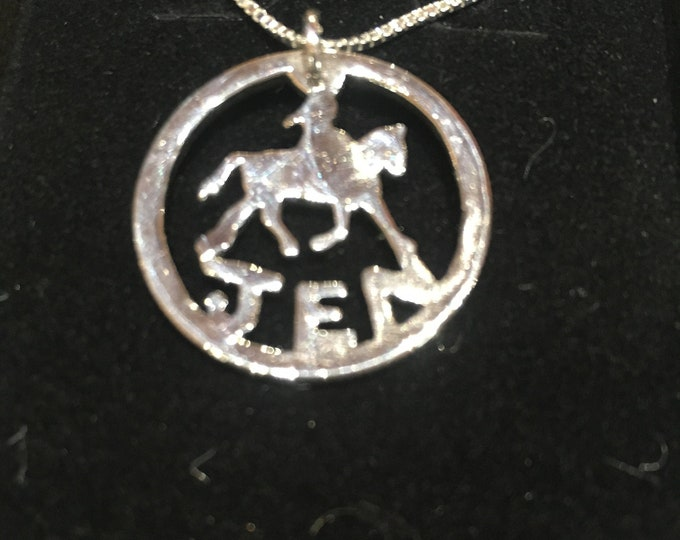 Horse and rider quarter size w/sterling silver chain