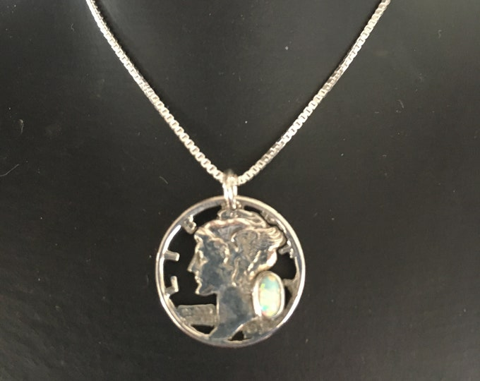 Mercury dime necklace w/opal w/sterling silver chain