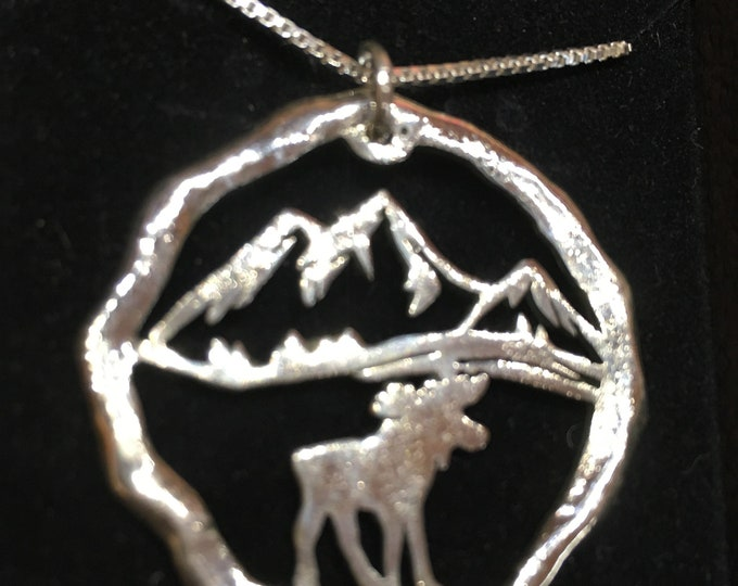 Large melted moose and mountains necklace sterling silver