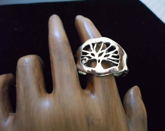 Melted heavy tree of life ring