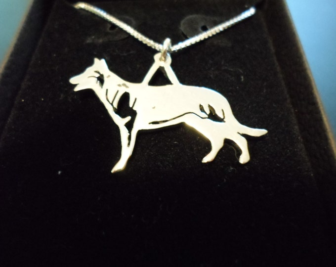 any breed dog necklace large 25mmx20mm w/sterling silver chain