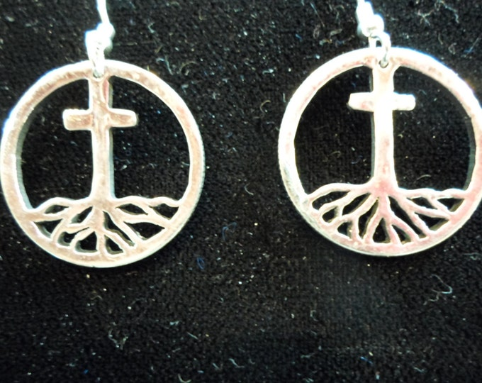 Rooted in the Cross earrings quarter size