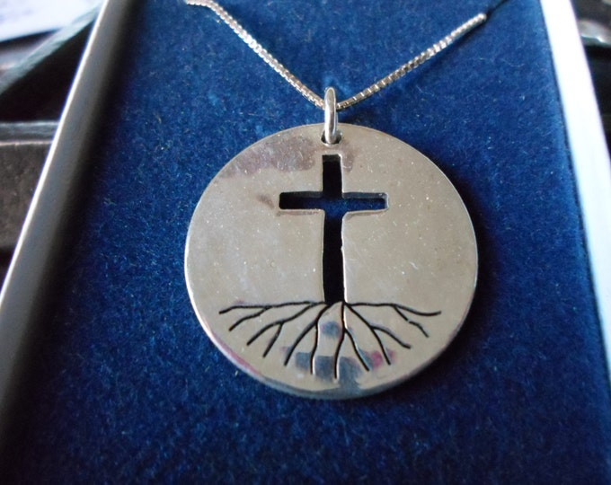 Rooted in the cross necklace quarter size solid back w/sterling silver chain