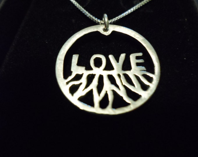 "Rooted in Love quarter size w/18"" sterling silver chain"