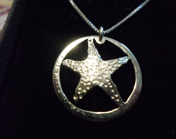 starfish necklace quarter size w/sterling silver chain
