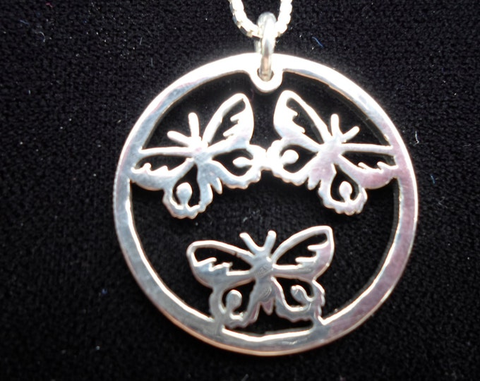 3 butterfly necklace half dollar size w/sterling silver chain