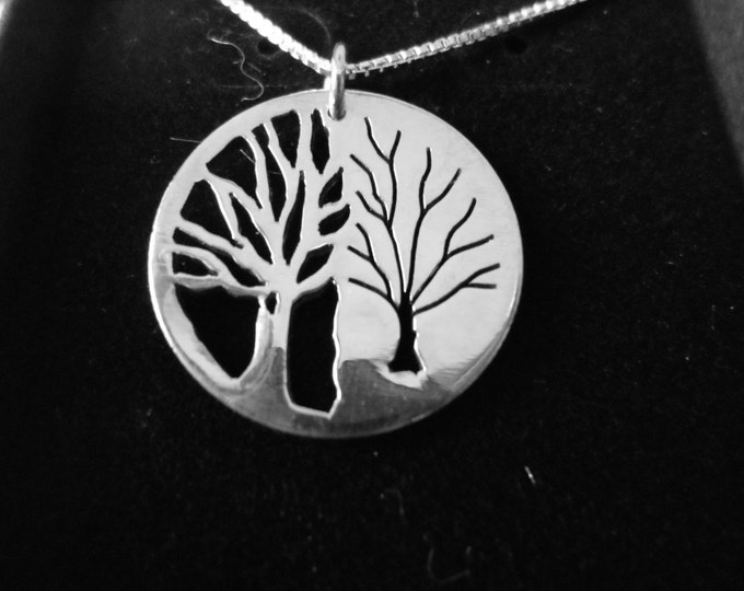 Reflection tree of life necklace quarter size w/sterling silver chain