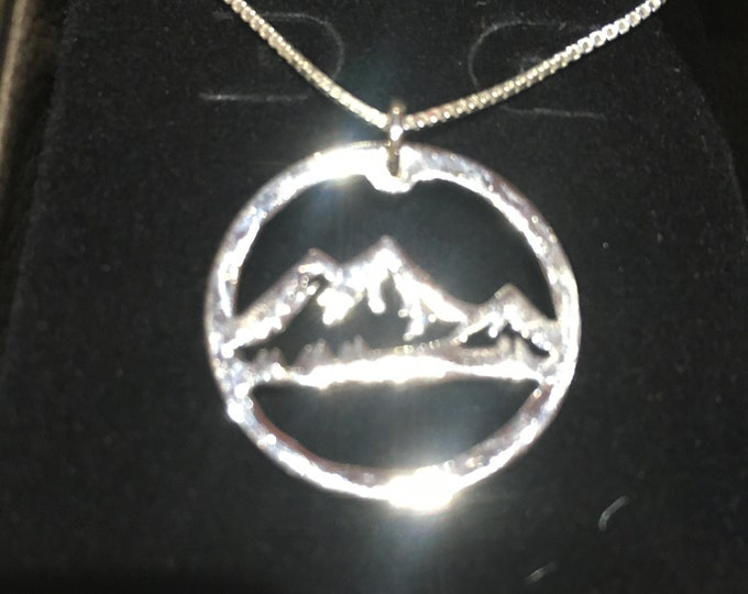 Mountain necklace quarter size w/sterling silver w
