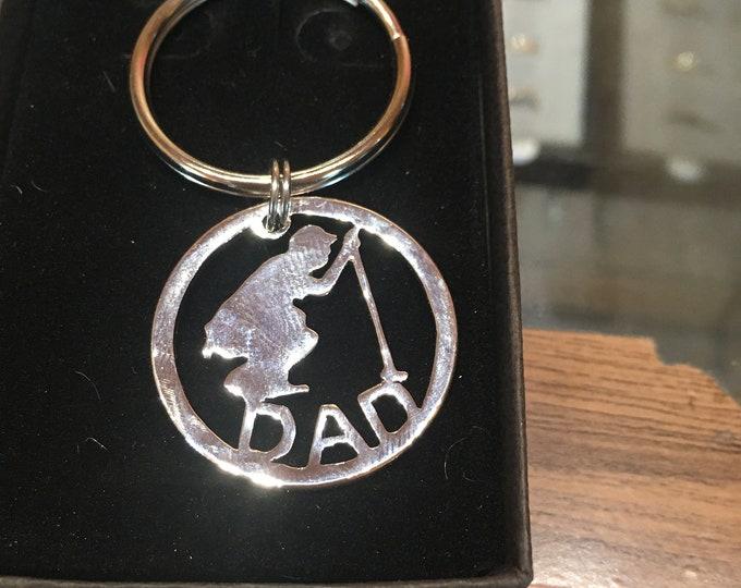 Golfer key ring for DAD made from U.S. silver half dollar