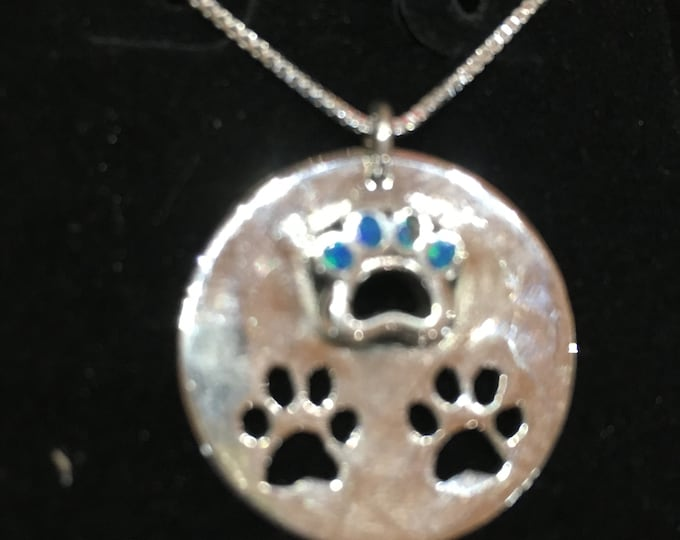Dog paws w/blue opal quarter size w/sterling silver chain