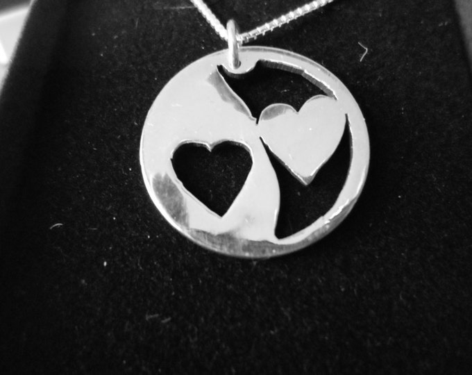 Reflection 2 heart necklace quarter size w/sterling silver chain