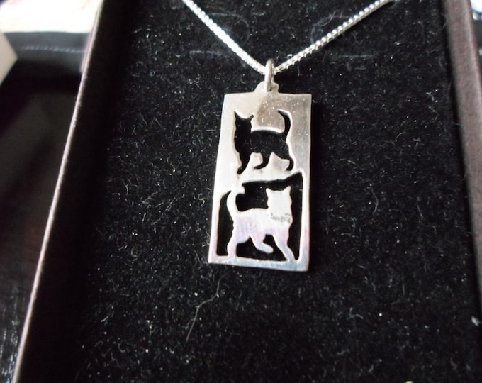 Reflection two cats rectangle necklace w/sterling silver chain