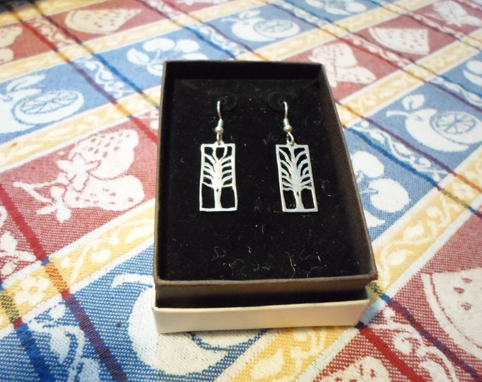 Smaller rectangle tree earrings