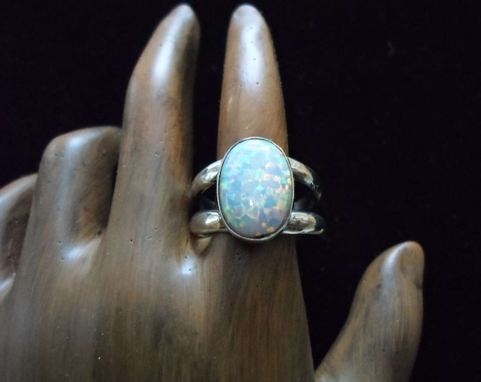 opal ring double band  10x14mm created opal
