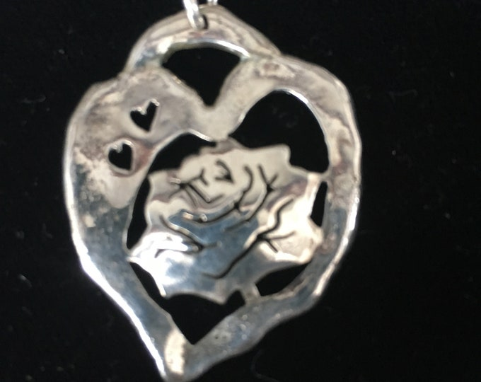 Large melted Rose and Heart pendant
