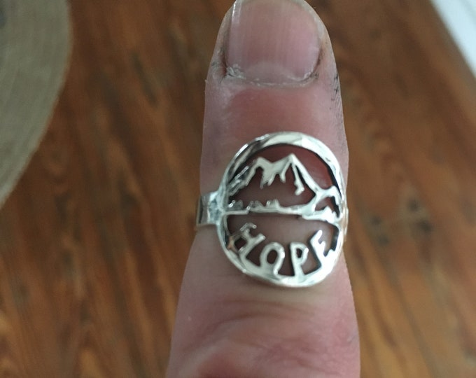 Hope under the mountains ring sterling silver original by mountain man