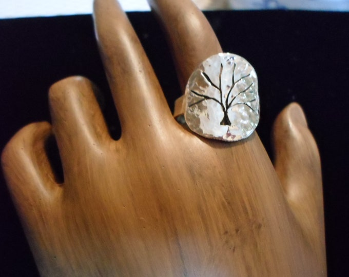 Tree of life ring  dime size hammered