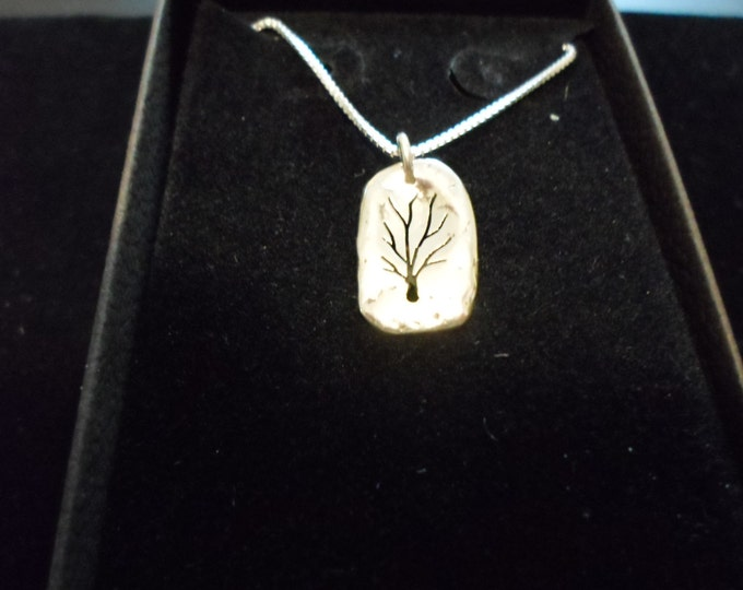 melted mini solid back tree w/sterling silver chain