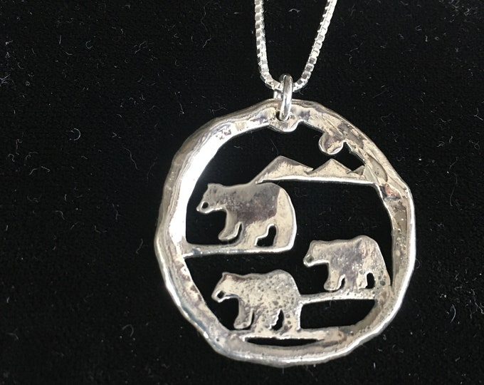 Large melted 3 bears pendant 36 mm x 36 mm