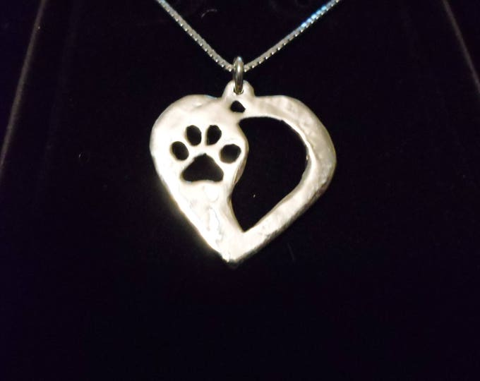 dog paw heart necklace w/sterling silver chain quarter size