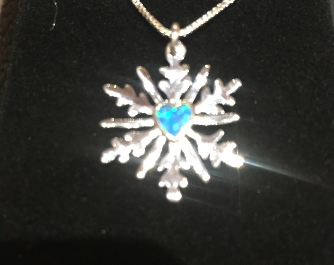 Blue opal heart snowflake necklace w/sterling silver chain quarter size