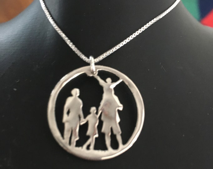 Custom Family necklace or key ring quarter size or half dollar size w/sterling silver chain or as key ring