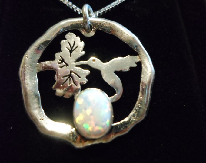 large humming bird necklace w/10x14 mm created opal melted w/sterling silver chain