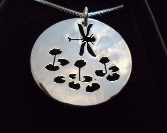 Half dollar Dragonfly necklace w/sterling silver chain