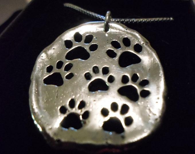 dog paw explosion necklace w/sterling silver chain half dollar size